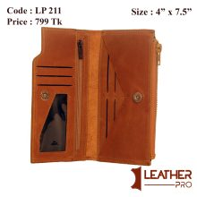 Genuine Leather long wallet With Zipper